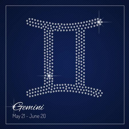 Shimmering diamond luxury Zodiac sign, Gemini. Template with a glamour design element and a place for your text. Isolated high quality concept. Clean, modern and elegant style design.