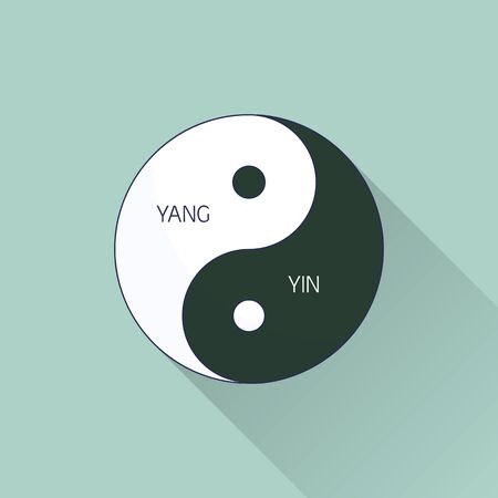 Yin Yang. Line, flat design. Flat icon with long shadow. Concept for beauty salon, massage, cosmetic and spa.