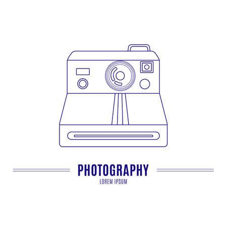 Old camera - branding identity element, isolated on white background.