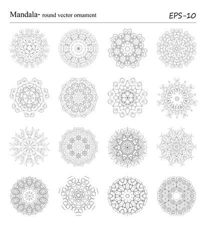 Ensemble de seize ornements de Mandala sur fond blanc. Objets de cercle géométriques décoratifs vintage. Éléments spirituels et de méditation vintage dessinés à la main. Motifs ottomans. Banque d'images - 61431612