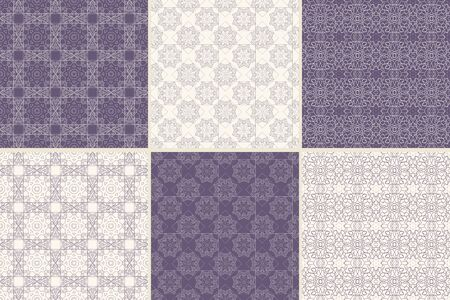 Set of seamless patterns with traditional Arabic ornaments.