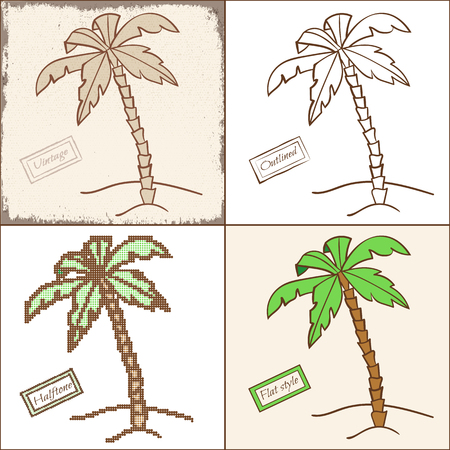 Collection of palm trees in four different styles.