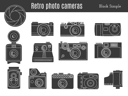 shutter aperture: Collection of old retro photo cameras, shutter aperture and film in cartridge. Monochromatic black simple style icons.