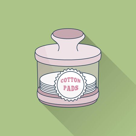 Hand drawn jar with cotton pads.