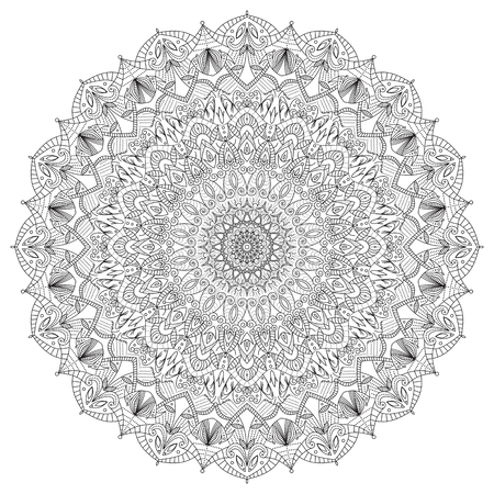 indian artifacts: Complex, detailed black Mandala isolated on white background. Abstract, geometric, radial Indian symbol. Vintage spiritual, meditation icon. Lace, ornament, graphic design element.
