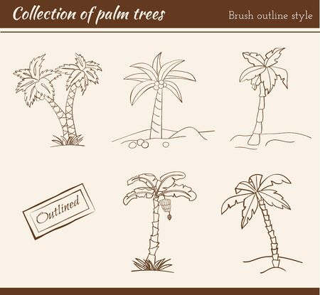 whimsy: Collection of palm trees in brush outline.