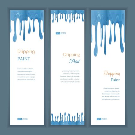 Set of three vertical banners with abstract seamless dripping aquamarine paint and shadow, isolated on white background. Place for your text. Modern style graphic design template. Marketing concept. Ilustrace