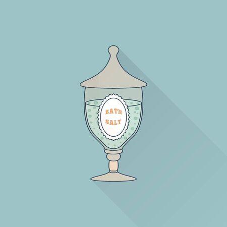 Hand drawn glass jar with spa salt.