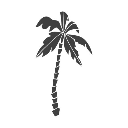 Black silhouette of palm tree isolated on a white background