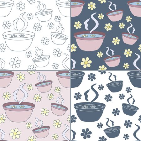 Elegant collection of four seamless patterns with hand drawn bath with flowers.