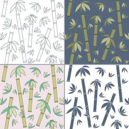 Elegant collection of four seamless patterns. Hand drawn bamboo. Concept for beauty salon, massage, cosmetic and spa. Illustration
