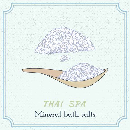 oriental medicine: Sea salt on wooden spoon. Hand drawn branding identity elements. Illustration
