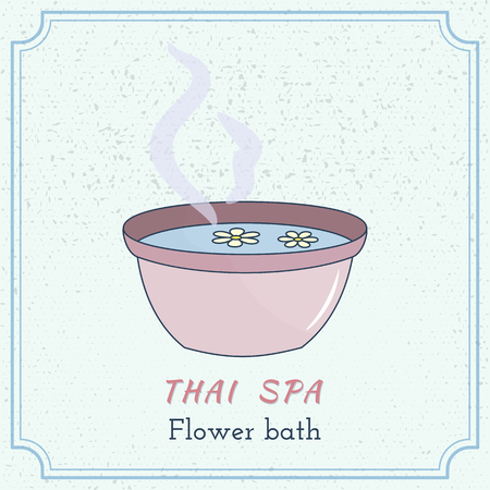 Hand drawn foot bath with flowers. Branding elements on grange background.