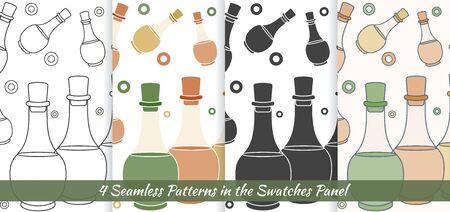 Hand drawn bottles of spa oils, branding identity elements on grange background. Иллюстрация