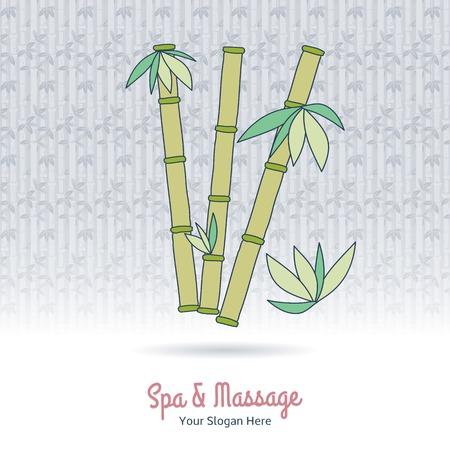 beauty therapist: Hand drawn bamboo. Branding identity elements on grange background.