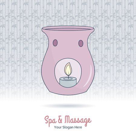 Hand drawn candle essential oil diffuse. Branding identity elements. Illustration