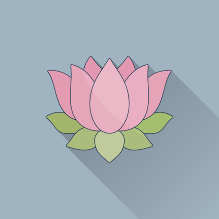 Hand drawn lotus flower.Flat icon with long shadow. Concept for beauty salon, massage, cosmetic and spa.