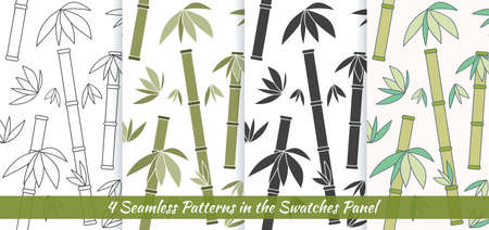 Elegant collection of four seamless patterns. Hand drawn bamboo. Concept for beauty salon, massage, cosmetic and spa. Background for cards, invitations, web pages.
