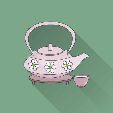 Hand drawn teapot and cups.