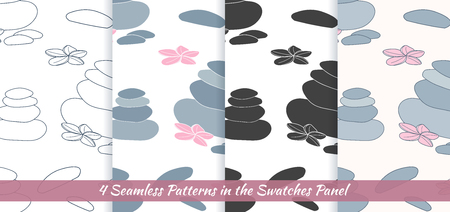 thai orchid: Elegant collection of seamless patterns with hand drawn massage therapy stones and flowers. Illustration
