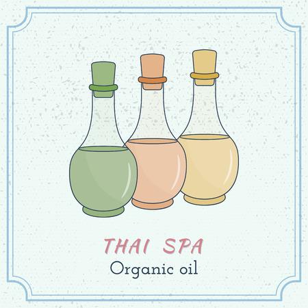 Hand drawn bottles of spa oils, branding identity elements on grange background. Illustration