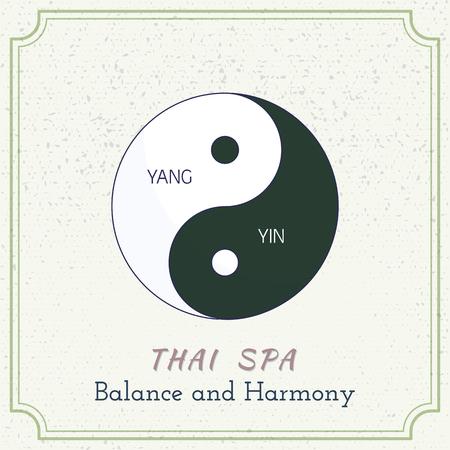 Yin Yang. Line, flat design. Branding identity element on grange background. Vettoriali