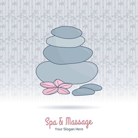 beauty therapist: Hand drawn therapy stones and flower. Branding elements on grange background.