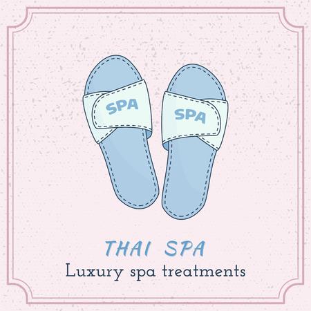 Hand drawn spa, hotel slippers, branding identity elements on grange background. Illustration