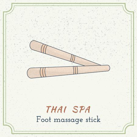 Hand drawn Thai  foot massage stick.