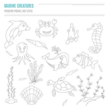 caballo de mar: Recolección de dibujado a mano las criaturas del mar en estilo moderno de línea mono en el fondo blanco aislado. Delfín de la historieta, cangrejo, pescado, caballo de mar, pulpo, conchas, algas marinas, tortugas marinas y ballenas.