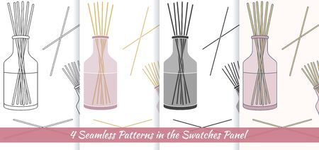 Elegante Sammlung von nahtlosen Muster mit Hand gezeichneten Reed Duft diffus.