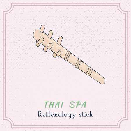 reflexology: Hand drawn reflexology hand and foot stick. Design elements on grange background.