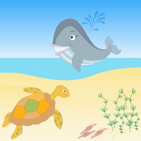 under water grass: Cute hand drawn cartoon illustration. Sea creatures on a beach. Tropical sea life design.