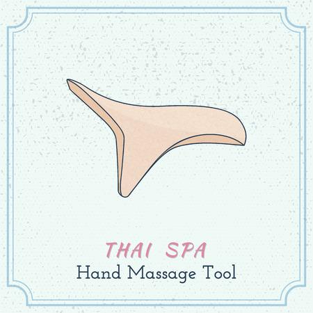Hand drawn reflexology hand massage tool. Design elements on grange background.