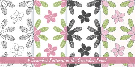 Elegant collection of seamless patterns with hand drawn frangipani, plumeria.