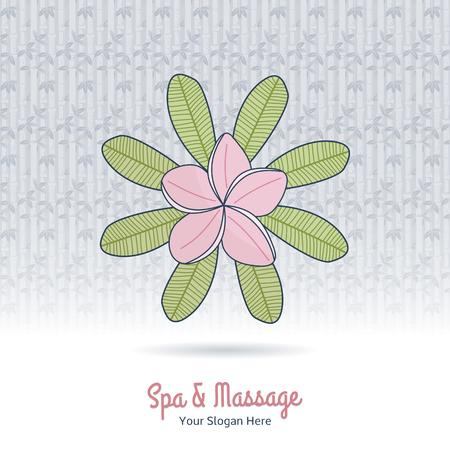 Hand drawn frangipani, plumeria. Branding identity elements, grange background. Illustration