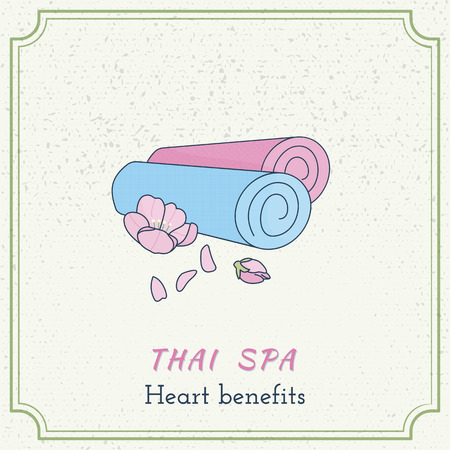 oriental medicine: Hand drawn yoga mats and flower. Branding identity design on grange background. Illustration