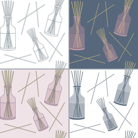 diffuse: Elegant collection of seamless patterns with hand drawn reed fragrance diffuse. Concept for beauty salon, massage, cosmetic and spa. Background for cards, invitations, web pages. Illustration