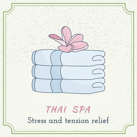 Hand drawn stack of towels and plumeria.
