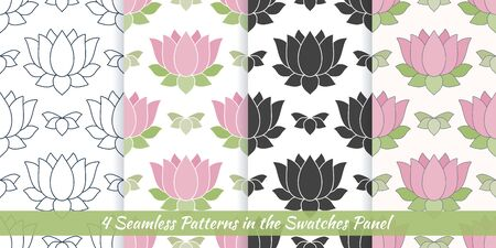 Elegant collection of seamless patterns with hand drawn Lotus flower.