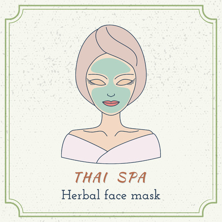 beauty mask: Hand drawn beautiful woman with facial mask. Branding identity elements. Concept for beauty salon, massage, cosmetic and spa.