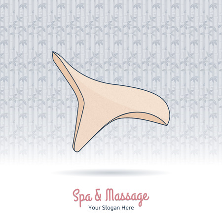 grange: Hand drawn reflexology hand massage tool. Design elements on grange background.