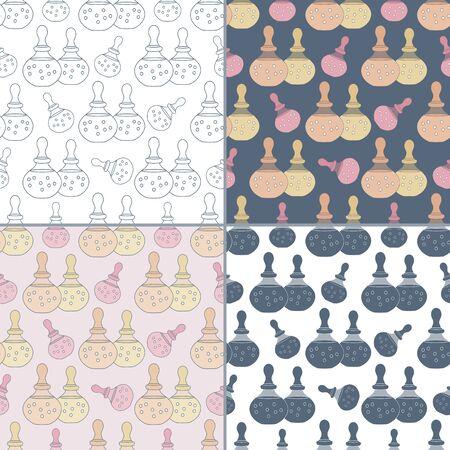 Elegante collectie van vier naadloze patronen met de hand getekende flessen spa olie.