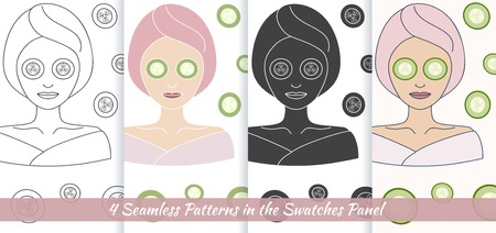 well being: Hand drawn beautiful woman with eye mask. Branding identity elements. Illustration