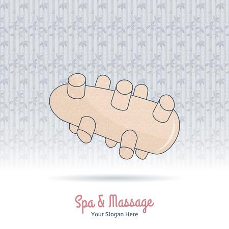Hand drawn reflexology Thai hand massage tool. Design elements on grange background.