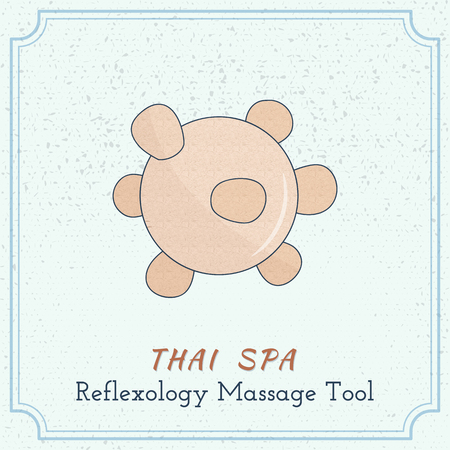 reflexology: Hand drawn reflexology Thai massage tool. Design elements on grange background.