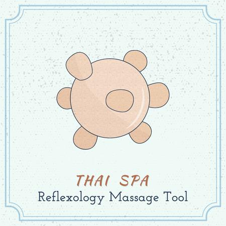 Hand drawn reflexology Thai massage tool. Design elements on grange background.
