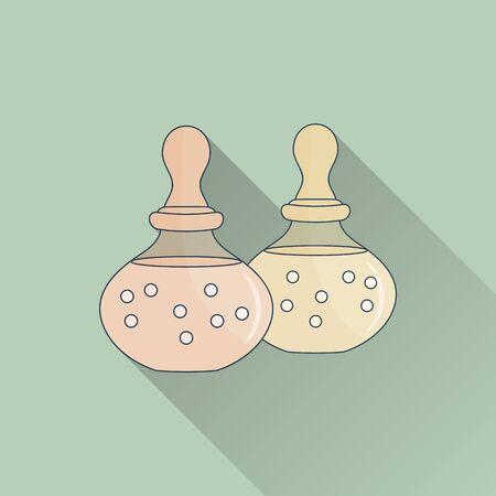 Hand getrokken fles spa olie. Flat pictogram, gekleurde beeld met een lange schaduw op groene achtergrond. Stock Illustratie
