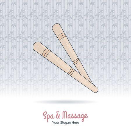 Hand drawn Thai  foot massage stick. Design elements on grange background.