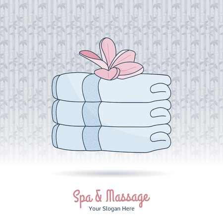 Hand drawn stack of towels and plumeria. Branding identity design, grange background. Concept for beauty salon, massage, cosmetic and spa.